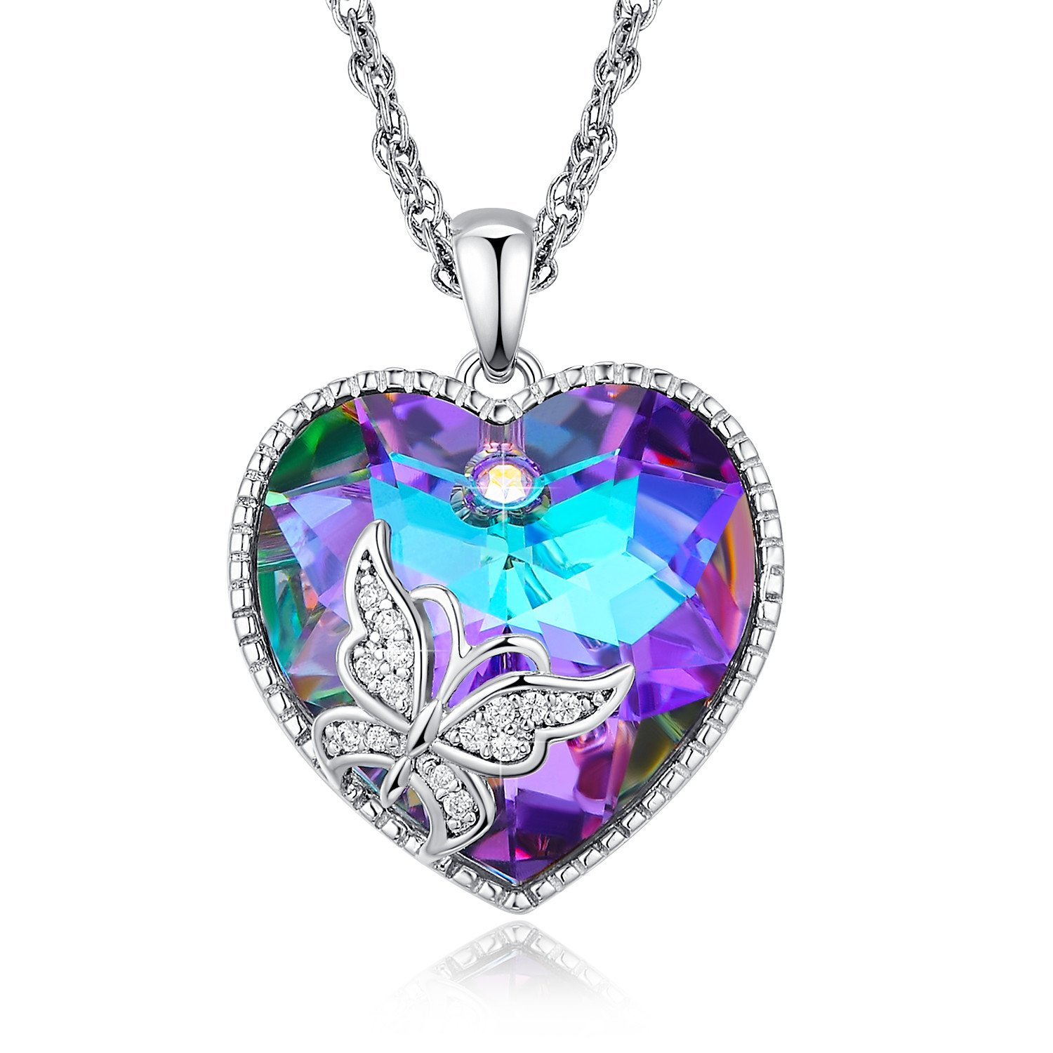 ANCREU Angel Wing Necklaces for Women Love Heart Pendant Necklace Gifts for Women Girls (A_Purple Butterfly)