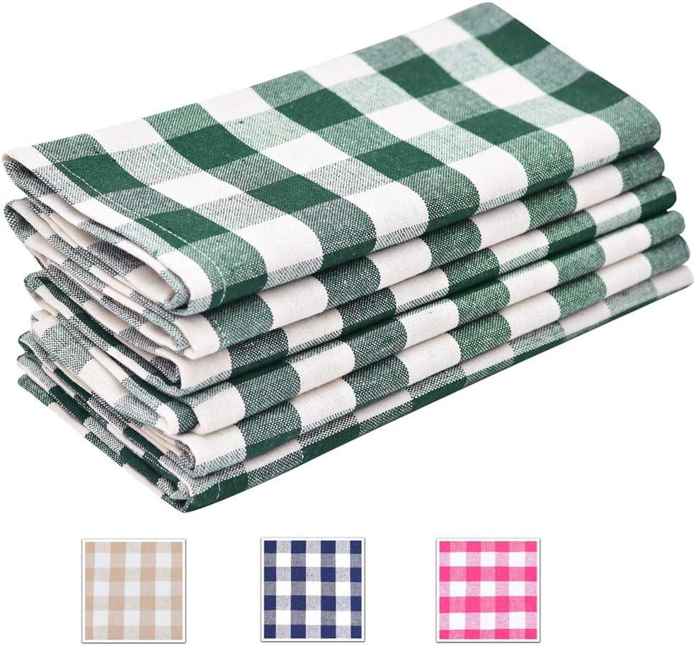 Buffalo Check Napkins - Green Napkins Cloth Cotton - Plaid Dinner Napkins Cloth - Checked Dinner Napkins - Teal Plaid Napkin - Kitchen Napkins Cotton - Checked Napkin Set of 6 (18x18), Green/White