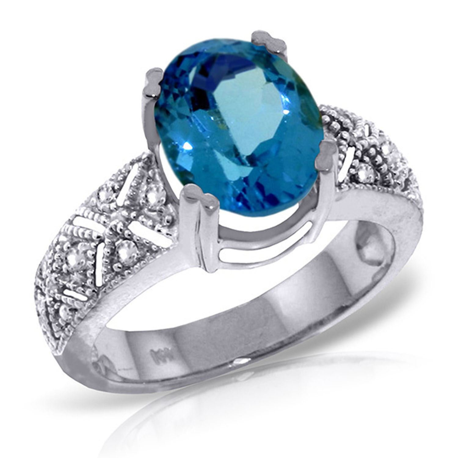 ALARRI 3.2 Carat 14K Solid White Gold Live To Love Blue Topaz Diamond Ring With Ring Size 6.5