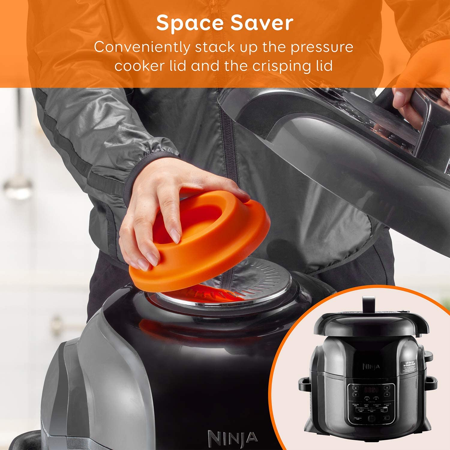 2 in 1 Kitchen Accessory Compatible with Ninja Foodi Pressure Cooker and Air Fryer 5 Qt 6.5 Qt and 8 Quart Black Fox Claw Lid Stand Silicone Lid Holder Accessories and Steam Release Diverter