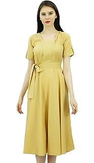b81c233025f Bimba Women s Short Sleeve Linen Shift Dress with Belt Casual Dresses