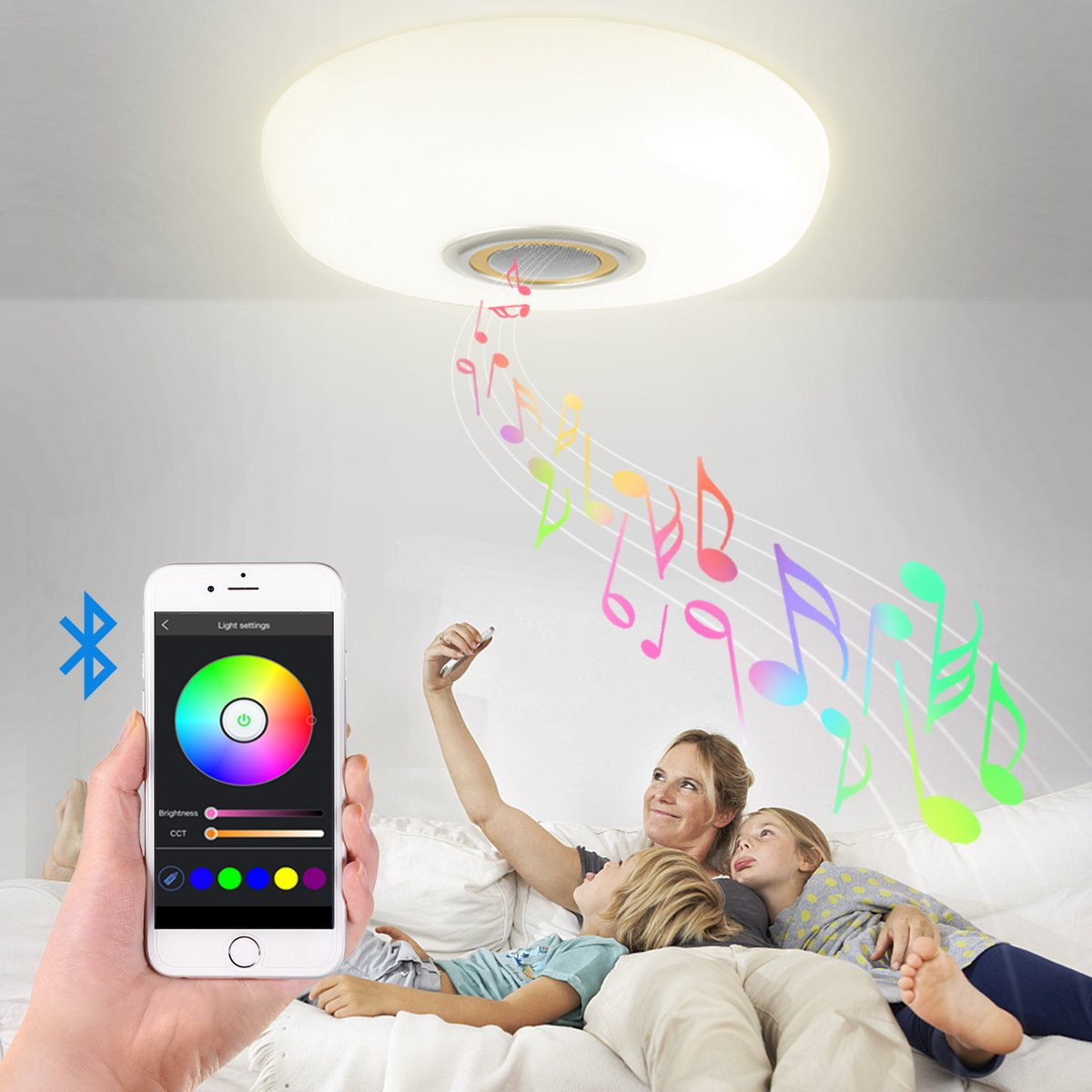 Led Music Ceiling Light with Bluetooth Speaker 20W, Modern Light Fixtures with RGB Color Changing,17.7inch 60W Home Party Light with Remote Control for Bedroom Living Room Dining Room Wedding(Gold) by BB SPEAKER