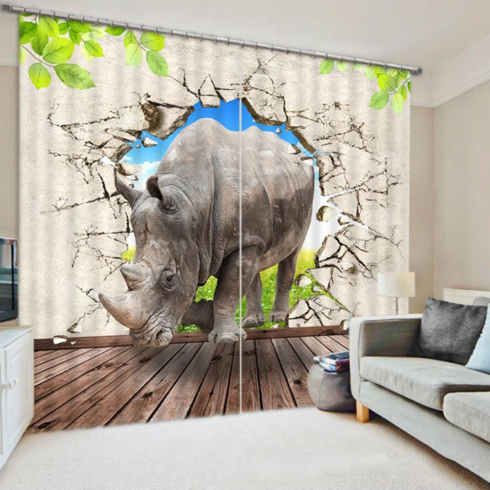 BXYR Digital Printing Curtains 3D Curtains + Accessories Hook + Roman Rings Bedroom Living Room Curtains Valance (excluding curtain rods or rails) Shade Curtains (Size : 3.2x2.7M)