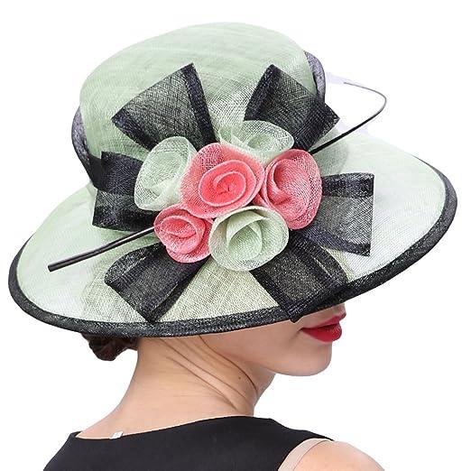 f713b5cb51e June s Young Women Hats 3 Layers Sinamay Wedding Hats Mint Black Sun Hat  Saratoga Race Course  Amazon.co.uk  Clothing