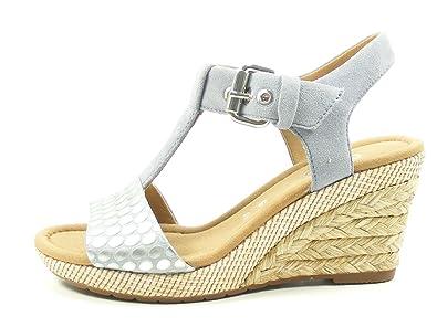 Gabor 82 824 Damen Sandalen Plateau Keil Sandaletten Weite G, Schuhgröße:40;Farbe:Grau