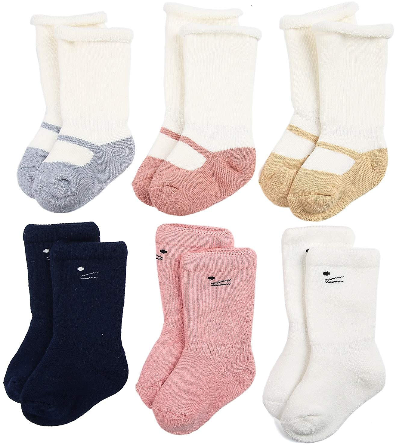 Zaples Unisex Baby Socks 3/6 Pack Soft Cotton Warm Winter Infant & Toddler Socks BSK1701W