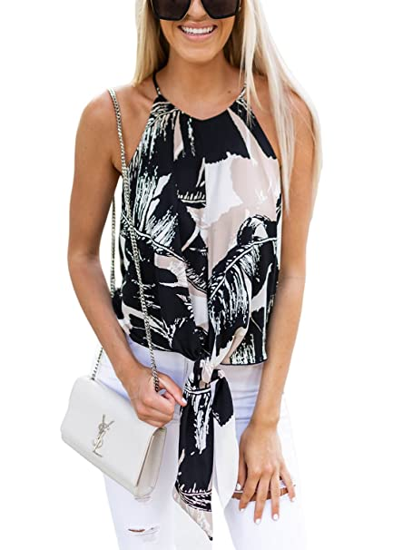 2cbed9cd78fdc ROSKIKI Womens Tops and Blouses Plus Size Summer Tie Front Floral Sleeveless  Halter Spaghetti Strap Casual