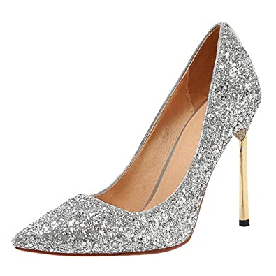 856ddaa7420f YE Damen Glitzer Pumps Stiletto Spitze High Heels mit Pailletten und 10cm  Absatz Elegant Party Schuhe - rocket-league-community.de