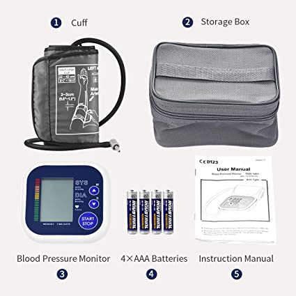TopElek Monitor de Presión Arterial Automático de Brazo, Tensiómetros de brazo eléctricos Sin Ruido Detector de Presión Arterial y Latidos Irregulares, ...