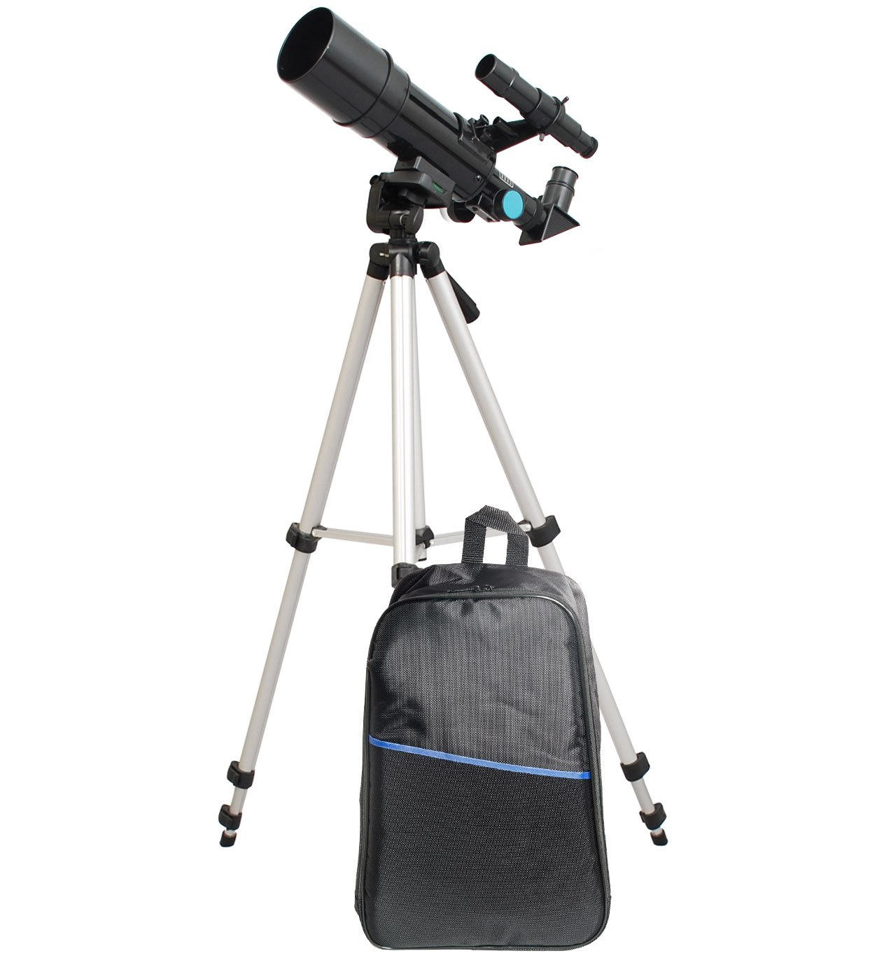 Black Backpack Bundle TwinStar 60mm Refractor Telescope 300mm Focal Length   15x and 50x Magnification Eye Pieces Included   Easy, Light Weight and Includes Aluminum Tripod   Great for Kids