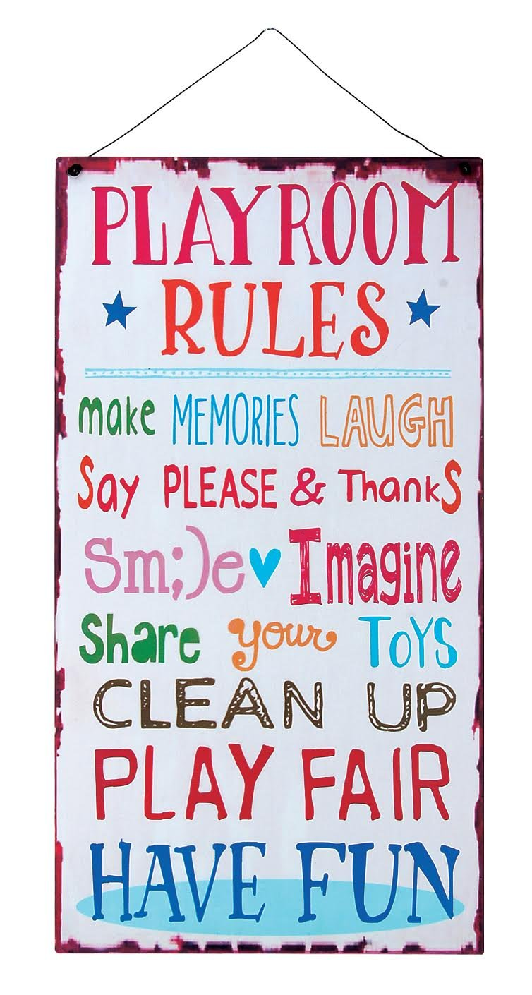 Kids Room Playroom Rules Hanging Wall Plaque Sign for Kid Room, Nursery, Classroom, Church and School