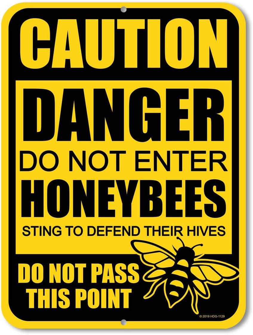 Honey Dew Gifts No Trespassing Signs, Caution Danger Do Not Enter Honeybees 9 x 12 inch Metal Aluminum Bee Farm Tin Sign