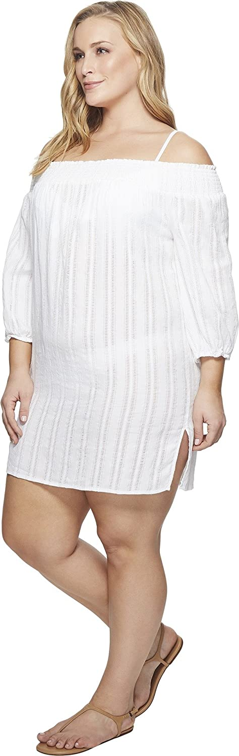 adf3bd2c9b Amazon.com: Lauren Ralph Lauren Women's Plus Size Dobby Smocked Off The  Shoulder Tunic Cover-Up White 1X: Clothing