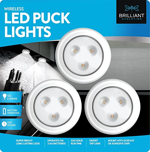 Amazon brilliant evolution brrc133 wireless led puck light 3 amazon brilliant evolution brrc133 wireless led puck light 3 pack operates on 3 aa batteries kitchen under cabinet lighting home improvement aloadofball Choice Image