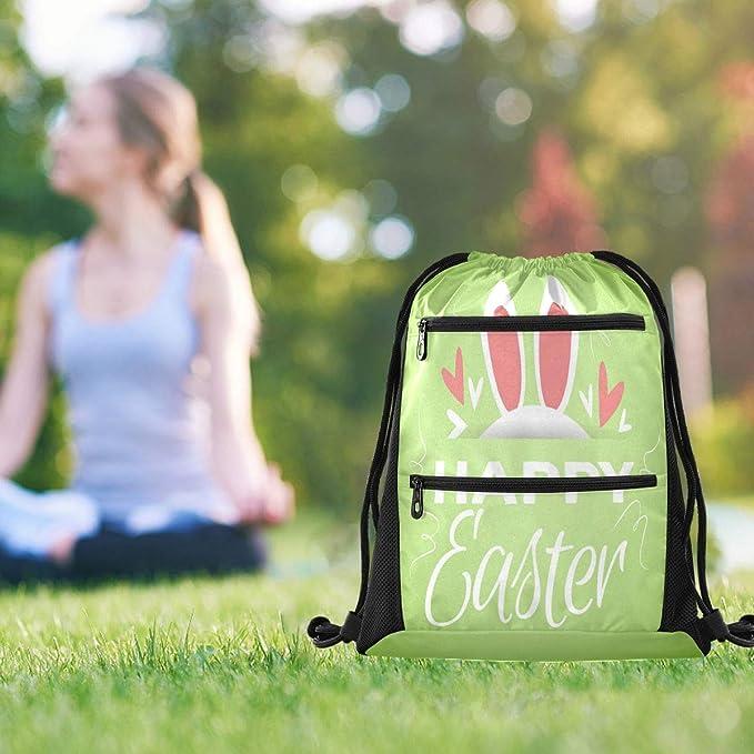 Drawstring Backpack Easter Mini Toile Green Gym Bag
