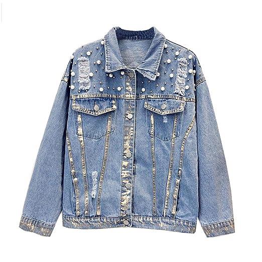 Womens Rivet Pearl Denim Jacket Pearl Coat At Amazon