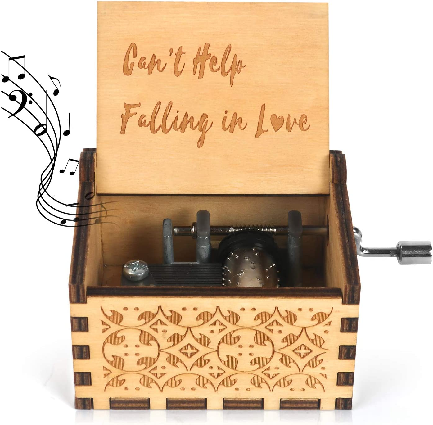 """Wooden Music Box /""""Can/'t Help Falling in Love/"""" Engraved Musical Case Toy Gift"""