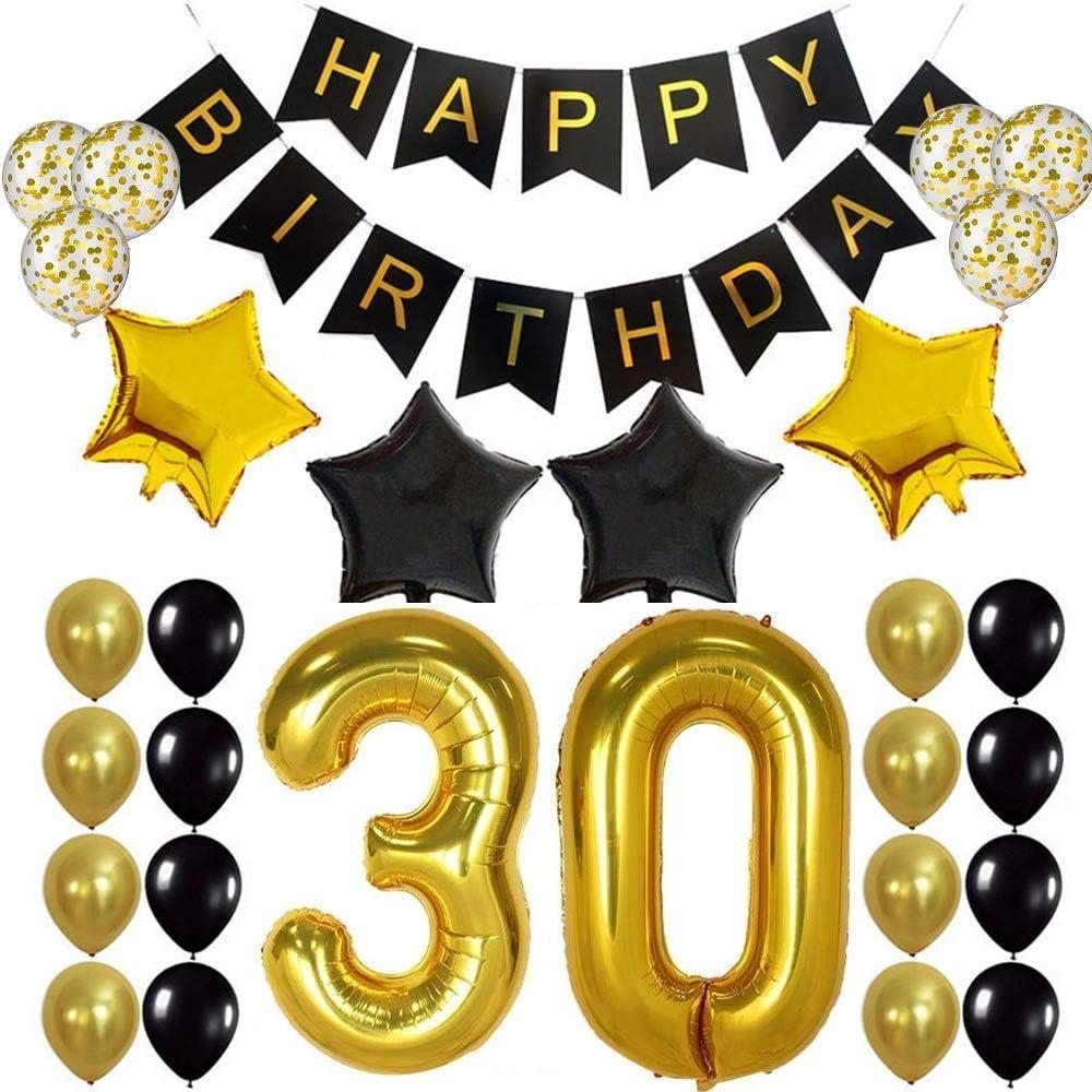 30 Geburtstag Dekoration Schwarzes Gold Ballons Geburtstag Party Deko Mit Happy Birthday Girlanden Konfetti Helium Luftballons Folienballon Geburtstagsdeko Für 30 Jahre Geburtstag Mann Frau Spielzeug