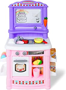 RoWood Kids & Toddlers Pretend Play Kitchen Set Toy, Best Gift for Boys & Girls - with Magnetic Drawing Board & Simulated Electric Water (Pink)