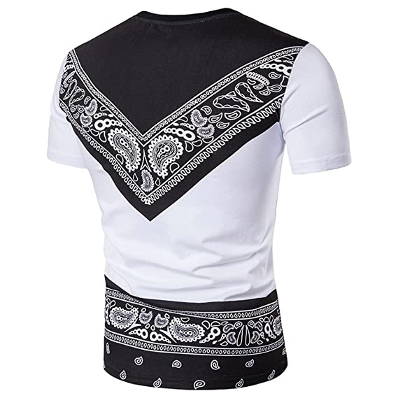 Camiseta De Manga Corta Hombre Verano Que Imprimen Africana Étnico Estilo Camisetas O Cuello Pull-