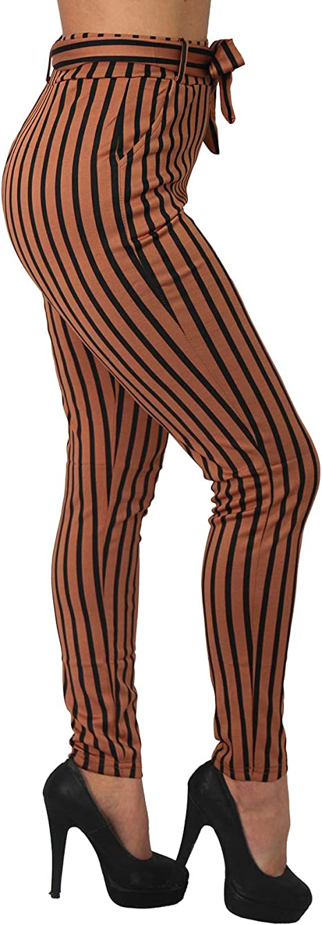 Business Streifen Stretch Hose Binde Gürtel breiter Bund Treggings High Waist