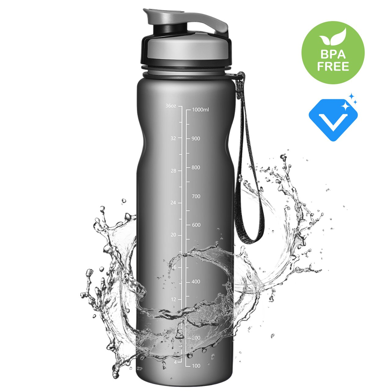 OMORC Sport Water Bottle 1 Liter/600 ml [2019 New, Leakproof & BPA-Free] Wide Mouth Flip Cap Eco-Friendly Quality for Yoga, Gym, Travel, Hiking, Cycling, Camping and Other Indoor, Outdoor Sports