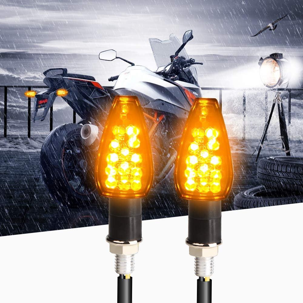 2x Universal LED Turn Signal Motorcycle Indicator Light Blinker Amber Waterproof