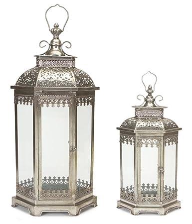 set of 2 antique style silver decorative glass pillar candle lanterns 30 - Decorative Lanterns