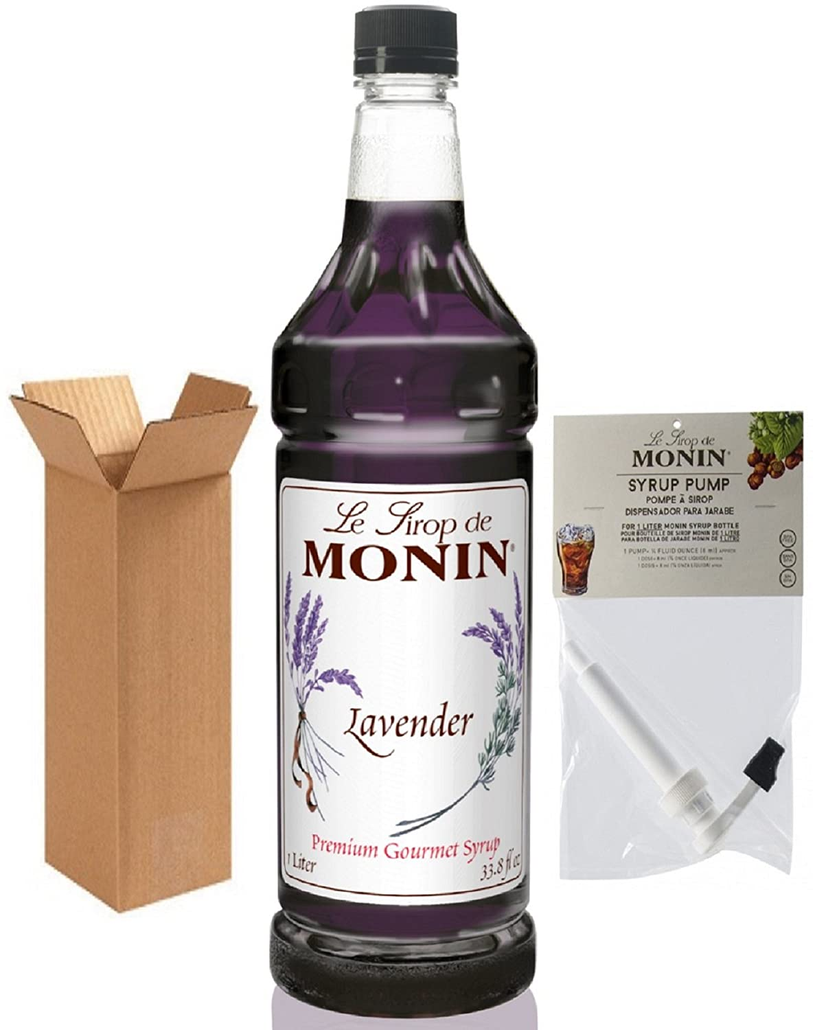 Amazon.com : Monin Lavender Syrup, 33.8-Ounce Plastic Bottle (1 Liter) with Monin Pump, Boxed. : Grocery & Gourmet Food