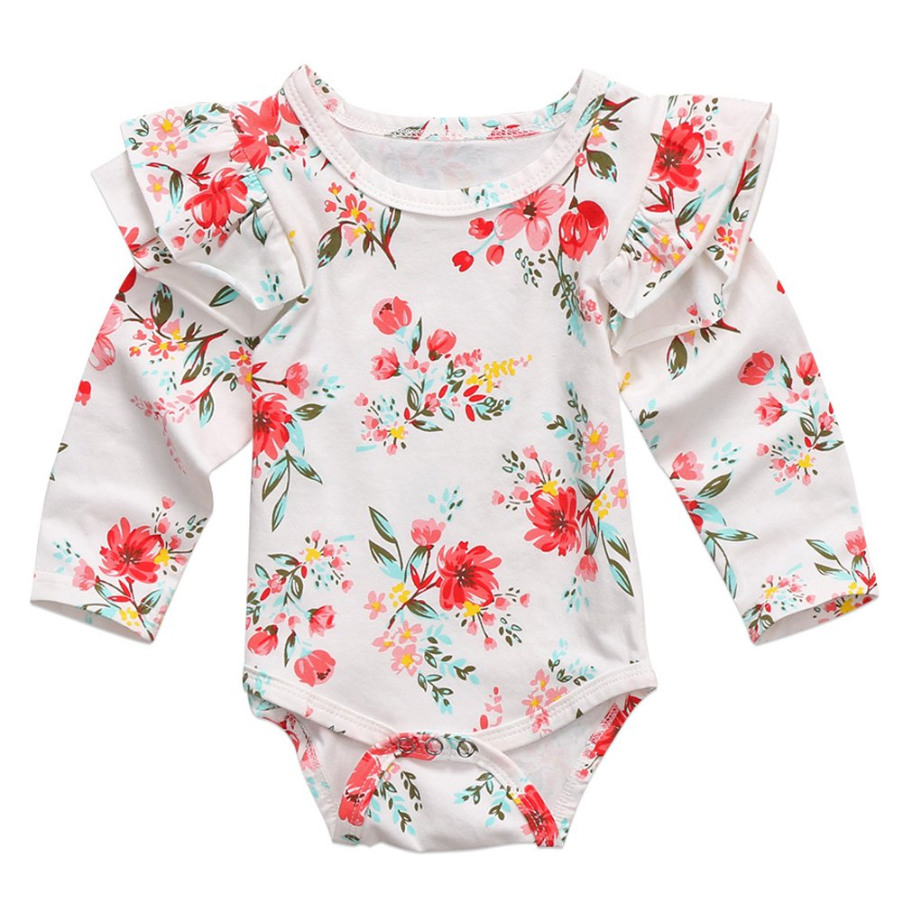 bac6a4c7429c Amazon.com  Infant Baby Girls Long Sleeve Bodysuit Floral Ruffle Fly Sleeve  Triangle Cotton Romper Jumpsuit  Clothing