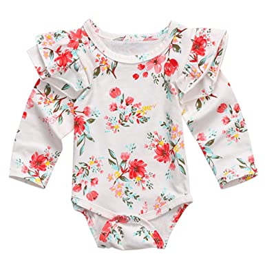 1a1f6eeece91 Amazon.com  Infant Baby Girls Long Sleeve Bodysuit Floral Ruffle Fly Sleeve  Triangle Cotton Romper Jumpsuit  Clothing