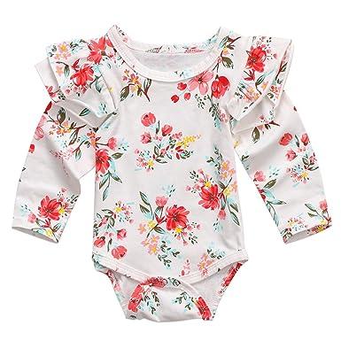 fd5964b41 Amazon.com  Infant Baby Girls Long Sleeve Bodysuit Floral Ruffle Fly ...