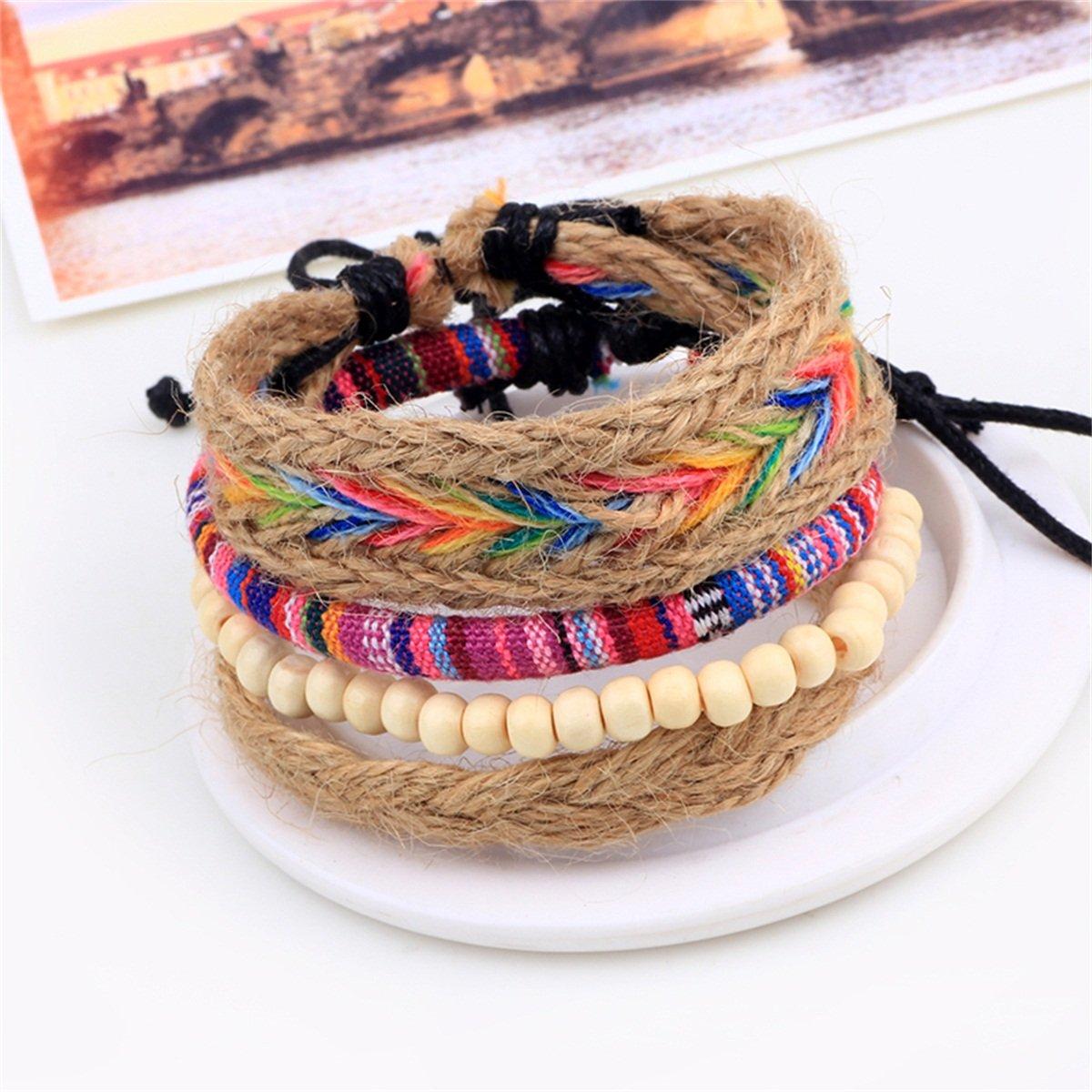 KY Jewelry Leather Bracelet Cowhide Retro Braided Wrap for Men Women Cuff Adjustable Wrap Bracelet Set