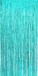 Allgala 4PK Metalic Tinsel Party Photo Backdrop Curtains Door Fringe Décor-Turquoise-BD52312