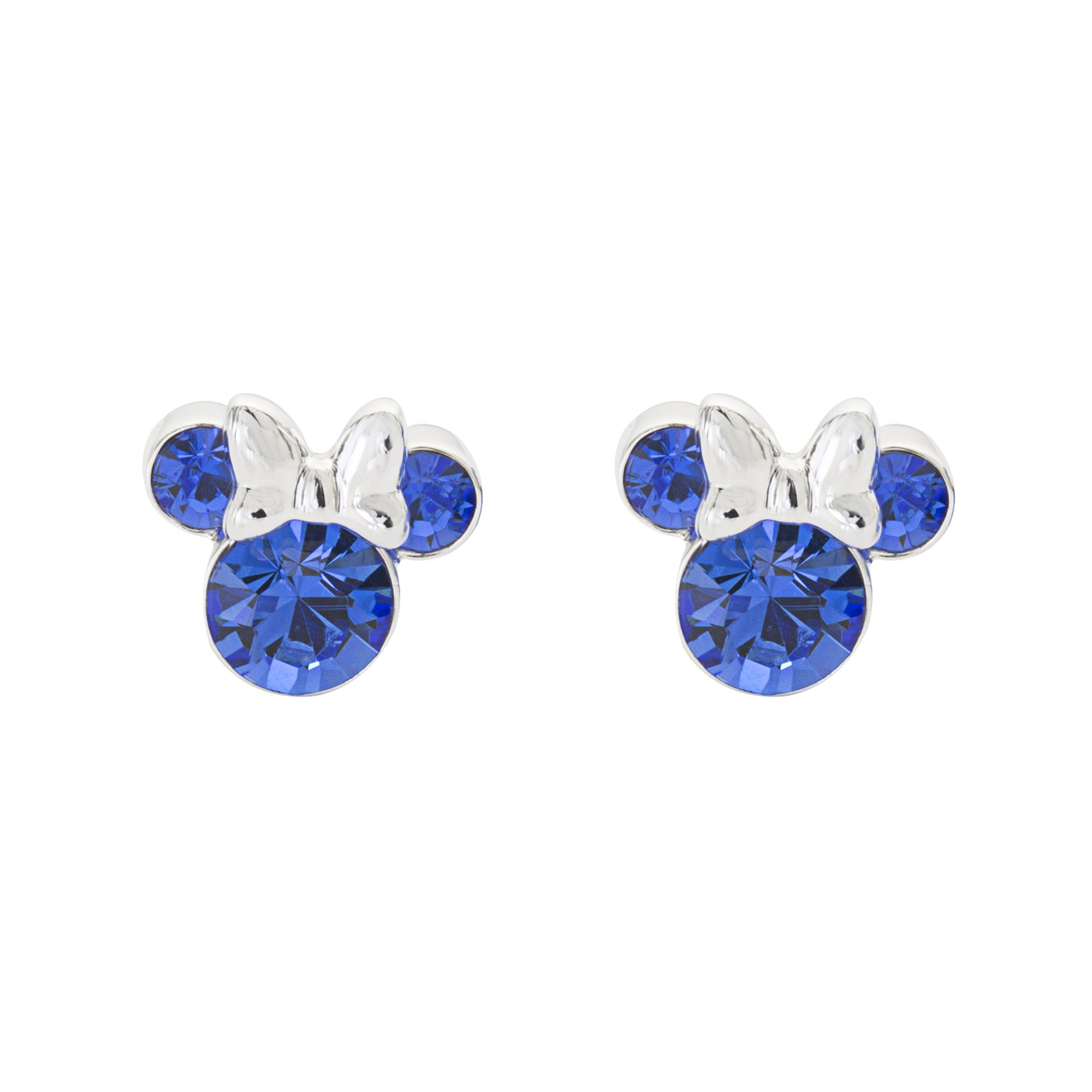 Disney Women's and Girls Jewelry Minnie Mouse Silver Plated Brass September Birthstone Stud Earrings Mickey's 90th Birthday Anniversary