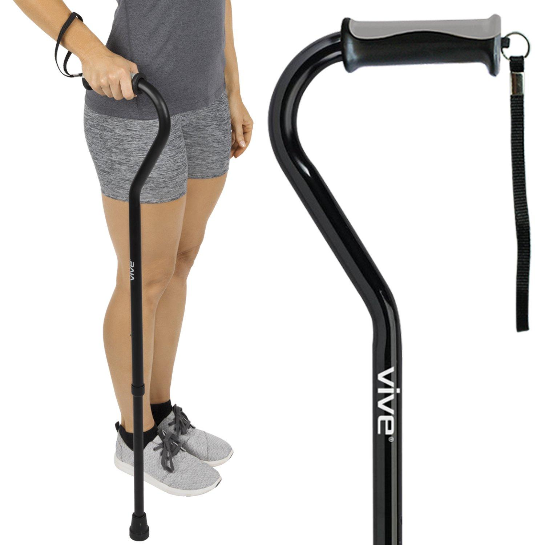 Walking Cane by Vive - Adjustable Cane for Men & Women - Lightweight & Sturdy Offset Walking Stick - Mobility Aid for Elderly, Seniors & Handicap (Black)