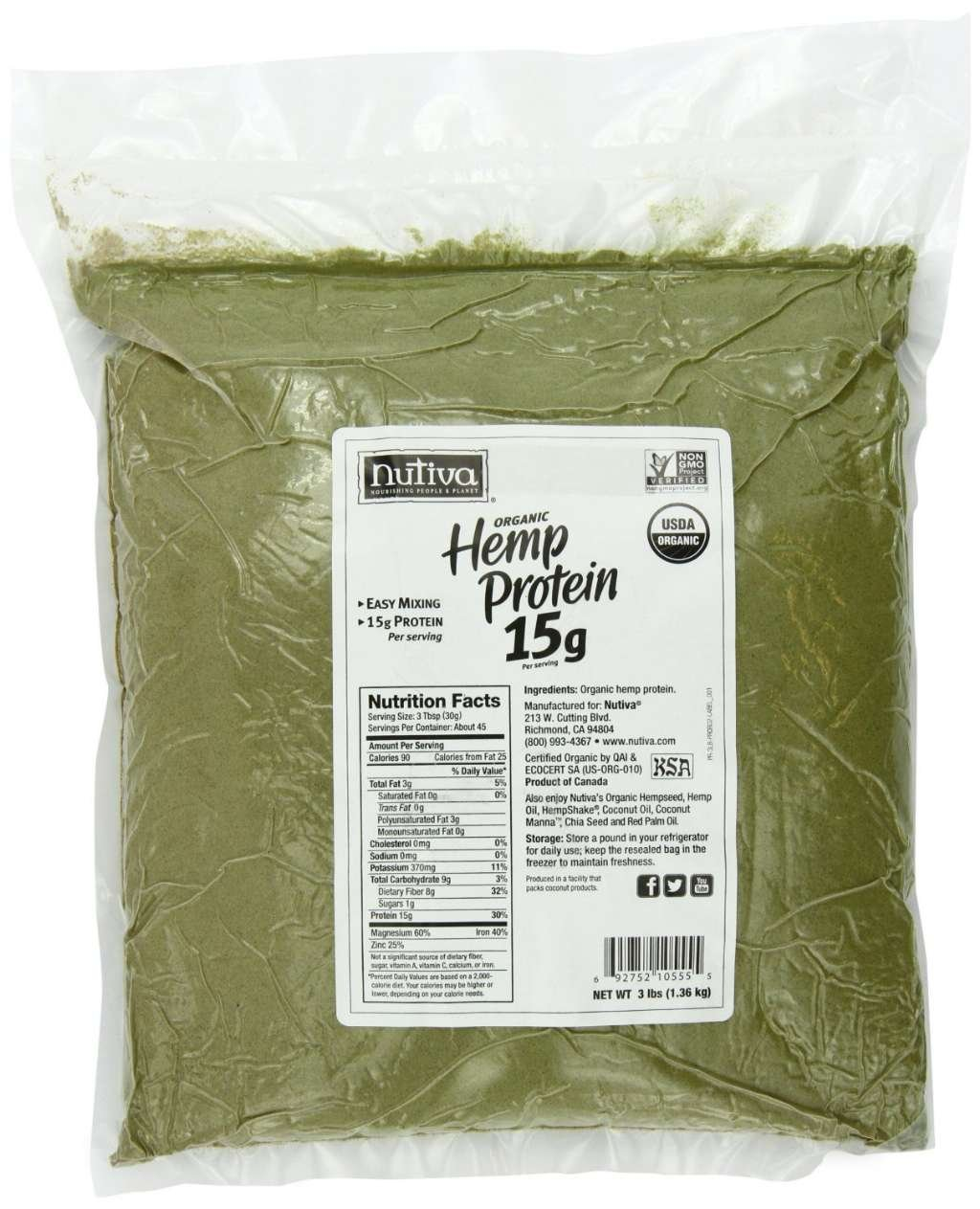 Nutiva Organic Hemp Protein, 4 Pack