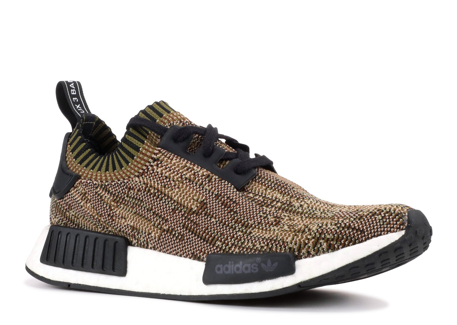 b907b8dd3ed44 Adidas NMD R1 PK Nomad Runner Primeknit Olive Camo Core Black White Size 10  BA8597