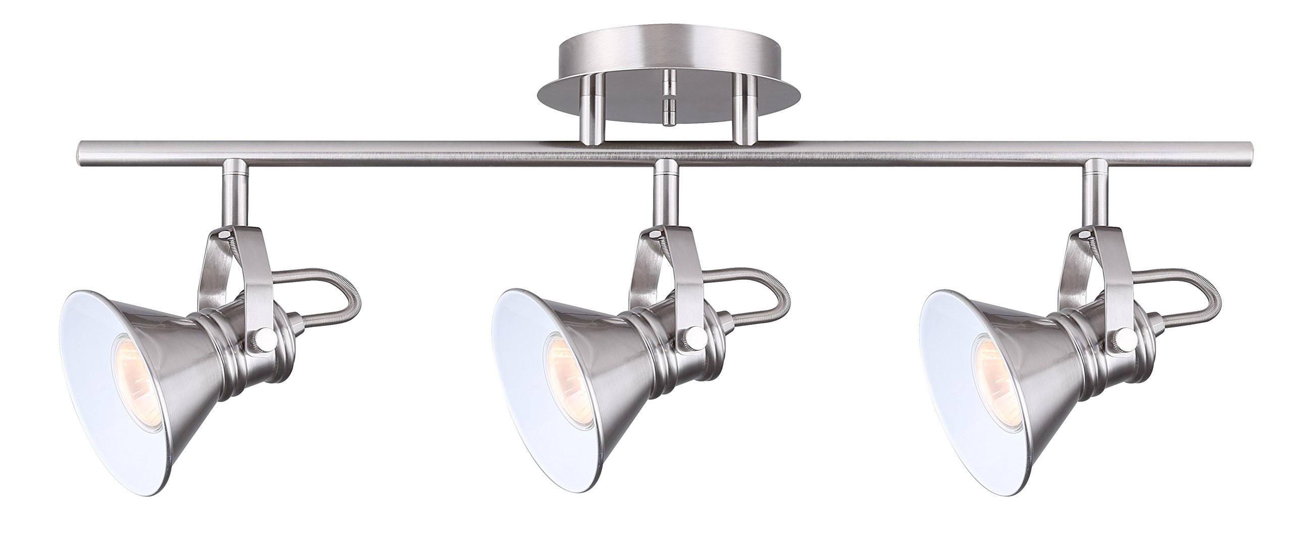 Canarn Morocco 3 Light Track Light with Adjustable Heads - Brushed Nickel - Easy Connect Included