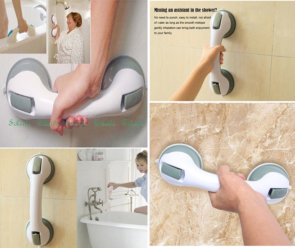 Shower Safety Bars Suction/Bathroom Balance Bar/Shower Safety Handle No Drilling Shower Safety - Provides Safe Grip for Bath & Shower, 12-Inches (white) by Lovelye (Image #2)