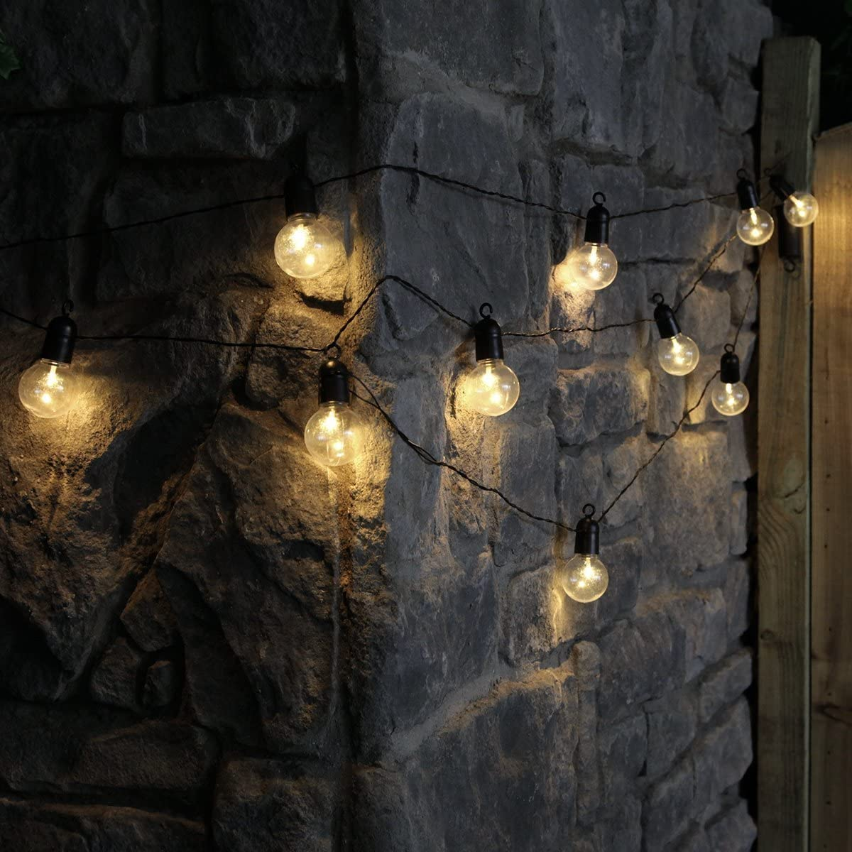 Matrimonio Natale Giardino LE Lampadina Catena Luminosa,DINOWIN 20ft 20 LED Bulbi Luci Batteria Stringa luminosa Decorative da Interni e Esterni per Festa bianca