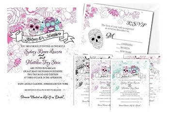Sugar Skull Wedding Invitations Dia De Los Muertos Skeleton Day Of The Dead