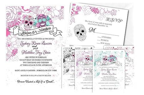 Amazoncom Sugar Skull Wedding Invitations Dia De Los Muertos