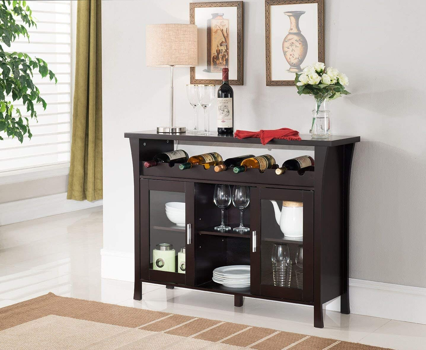 Kings Brand Furniture Wine Rack Buffet Server Console Table with Glass Doors, Espresso