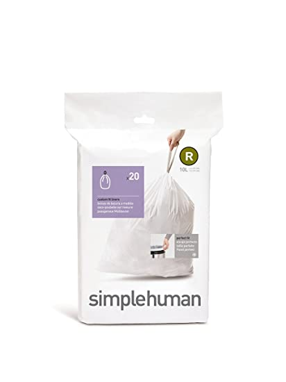 simplehuman Code R Custom Fit Drawstring Trash Bags, 10 L / 2.6 Gallon, 1 Refill Pack (20 Count)