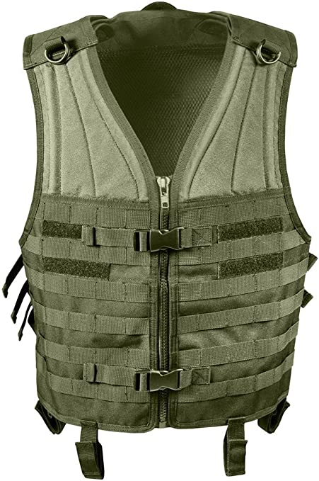 Rothco Molle Modular Vest in Olive Drab Color, zipper closure.
