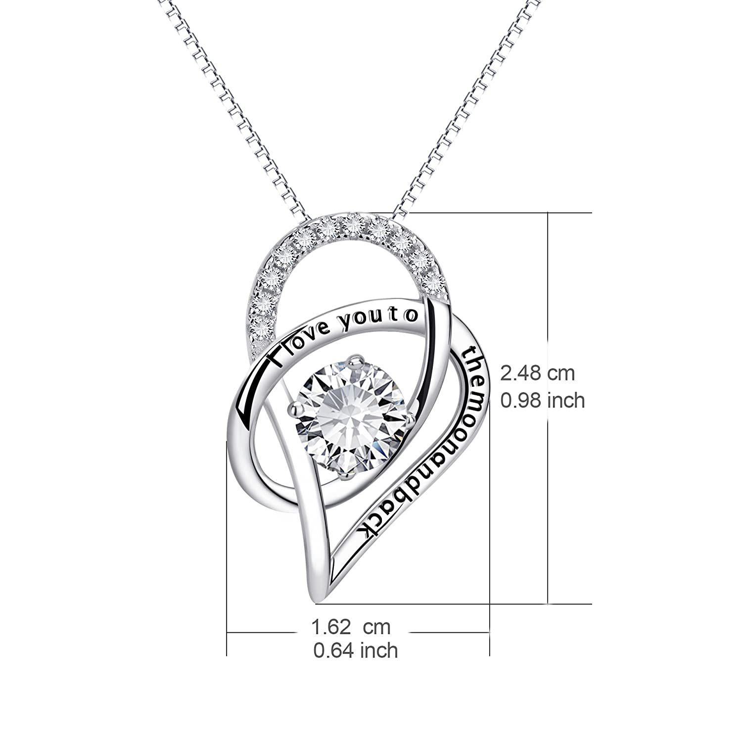 YFN Sterling Silver I Love You to The Moon and Back Love Heart Pendant Necklace 18 Heart Necklace