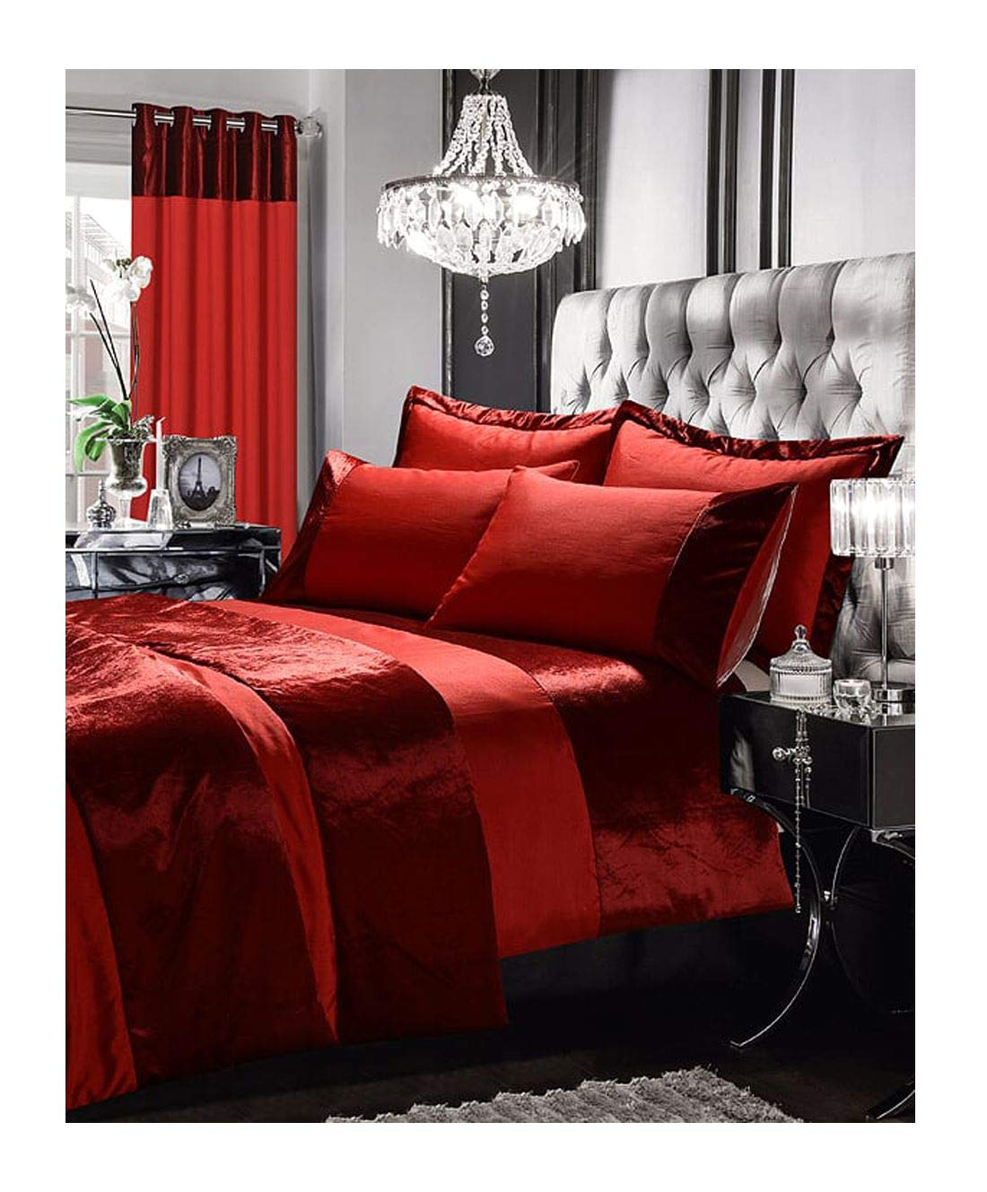 Rimi Hanger Luxury Gran Reno Silk Crushed Velvet Duvet Pillow Set Matching Curtains Throws Curtains Red One Size (66x54 Inch)