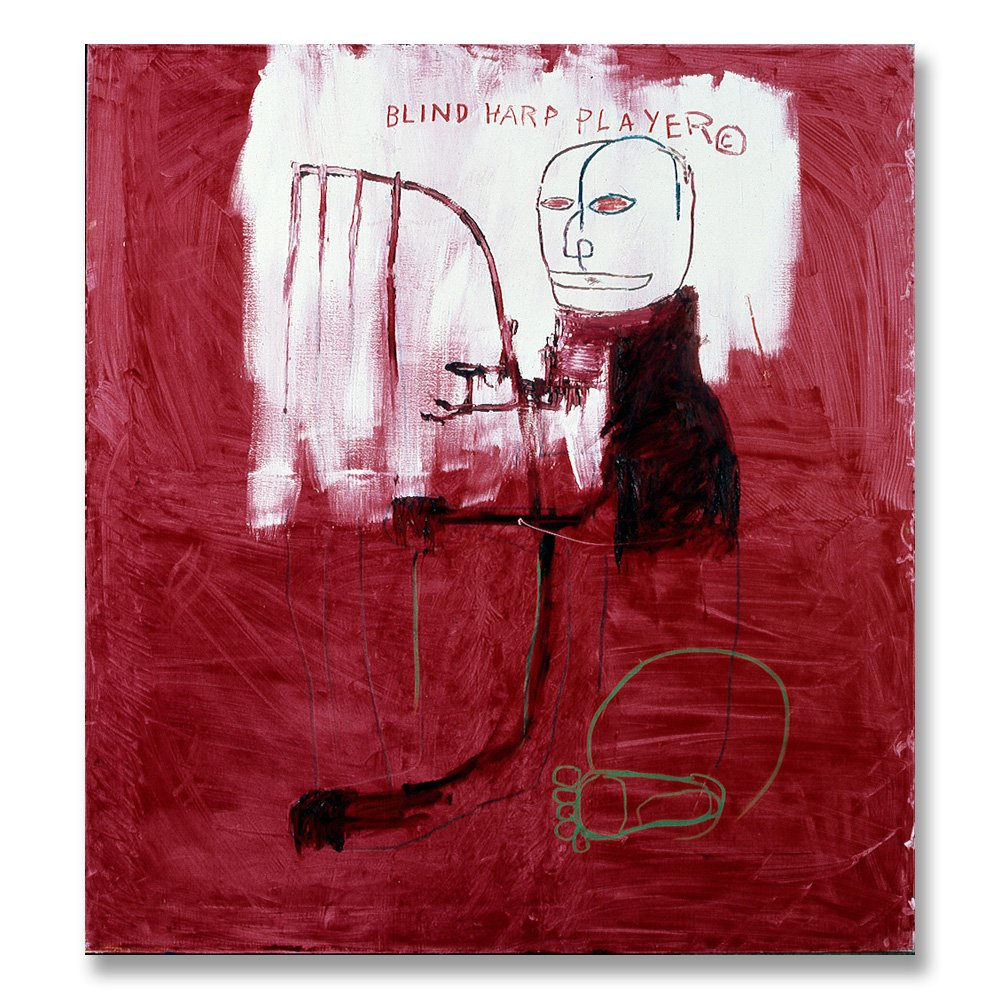 Jean-Michel Basquiat Original Graffiti Art Deaf 1984 Canvas Paintings Hand Painted Reproduction Unframed Tablet - 44X48 inch (112X122 cm) for Living Room Bedroom Dining Room Wall Decor To DIY Frame by Neron Art (Image #1)