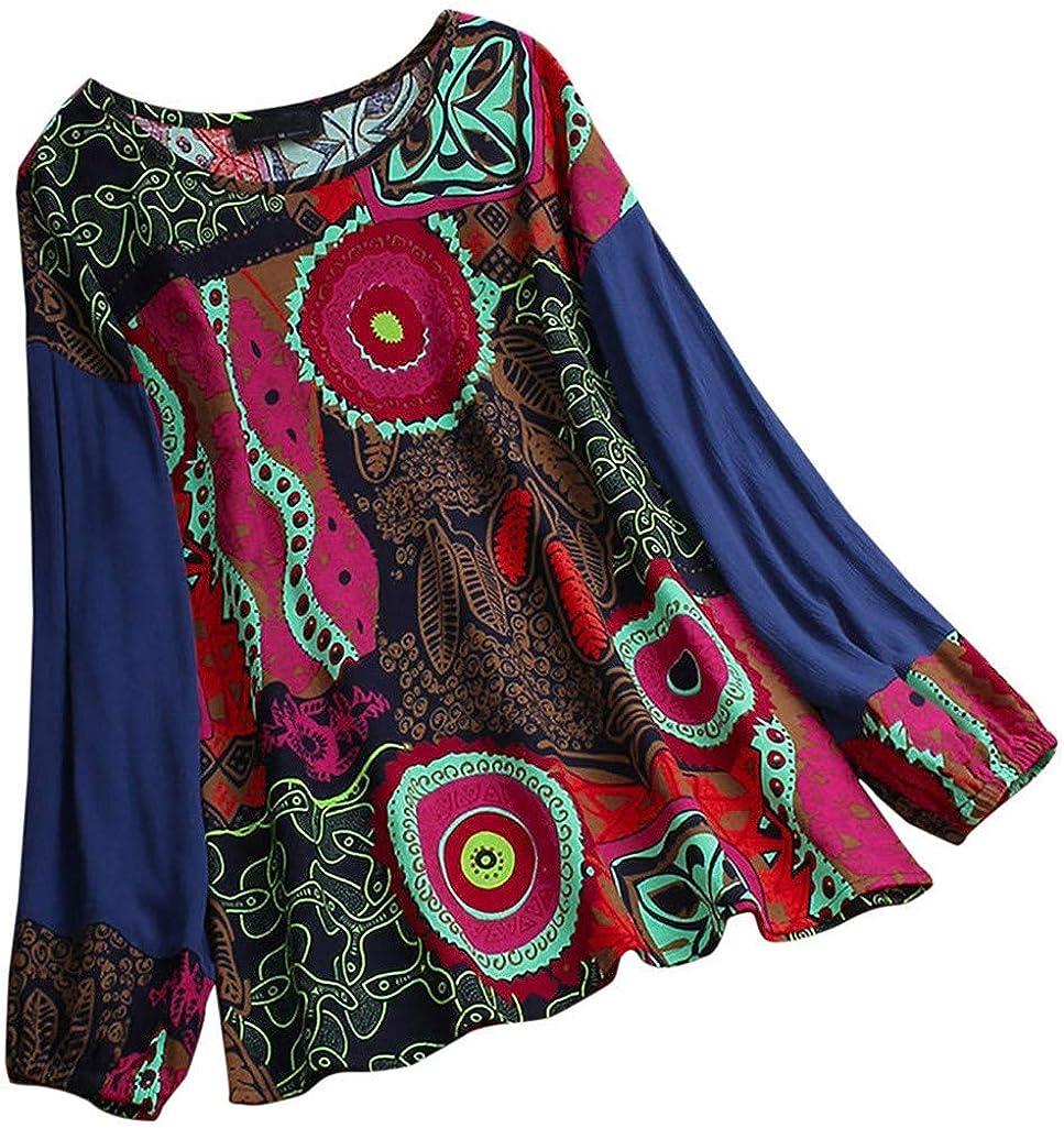 Reooly Las señoras de Las Mujeres de la impresión Atractiva de algodón de Manga Larga de Lino Camisa Pullover Tops